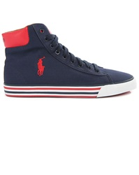 Polo Ralph Lauren Navy Striped Sole Harvey Hi Top Canvas Sneakers