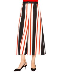Dolce And Gabbana Striped Culotte Pants Black Orange White Blk Orn Wte Strps