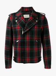 Gucci Tartan Wool Biker Jacket Red Multi Coloured Navy Black Grey Denim