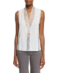 Alice Olivia Peta Sleeveless Lace Trim Top Cream