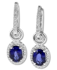 Effy Collection Gemma By Effy Oval Cut Sapphire 1 9 10 Ct. T.W. And Diamond 1 4 Ct. T.W. Earrings In 14K White Gold Blue
