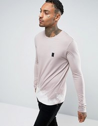 Religion Long Sleeve T Shirt With Bleached Out Curved Hem Ashes Of Roses Pink