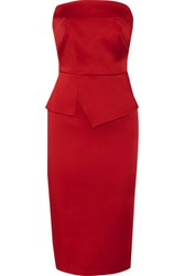 Roland Mouret Cozen Strapless Stretch Satin Dress Red