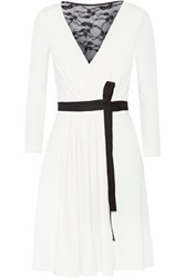 Diane Von Furstenberg Seduction Lace Paneled Wool Jersey Wrap Dress Ivory