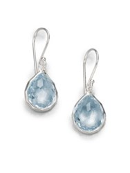 Ippolita Blue Topaz Sterling Silver Teardrop Earrings Light Blue Silver