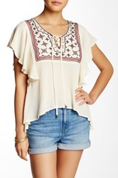 Want And Need Embroidered Peasant Blouse White