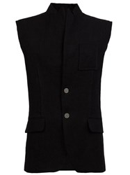 Aganovich Stand Up Collar Buttoned Gilet Black