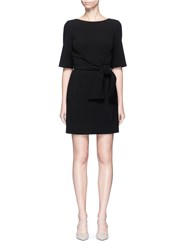 Alice Olivia 'Virgil' Wrap Waist Boat Neck Dress Black