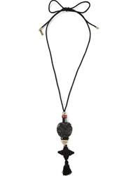 Etro Glass Pendant Rope Necklace Black
