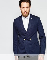 Noose And Monkey Double Breasted Jersey Blazer With Stretch And Gold Buttons In Super Skinny Fit Navy Blue