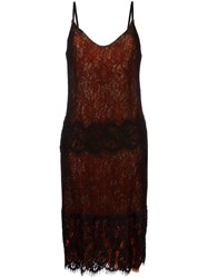 Maurizio Pecoraro Lace Overlay Slip Dress Black