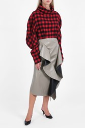 A.W.A.K.E. Faux Leather Ruffle Skirt Grey