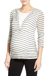 Women's Lab40 'Zoe' Stripe Maternity Nursing Hoodie White Black Stripe
