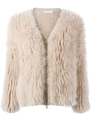 Brunello Cucinelli Goat Fur V Neck Jacket Nude And Neutrals