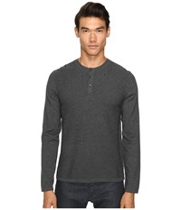 Vince Jersey Mix Stitch Long Sleeve Henley Heather Carbon Men's Sweater Gray