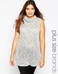 New Look Inspire Sleeveless Cowl Neck Top Grey