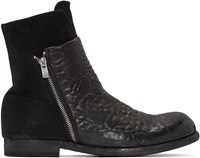 Officine Creative Black Leather And Suede Bubble Boots