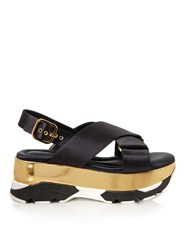 Marni Satin Criss Cross Flatform Sandals Navy