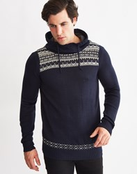 Only And Sons Mens High Neck Hoodie Navy