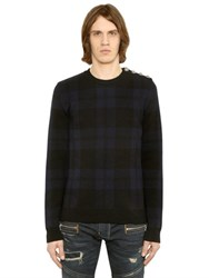 Balmain Plaid Wool Knit Sweater With Buttons