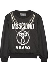 Moschino Embellished Printed Jersey Sweatshirt Black