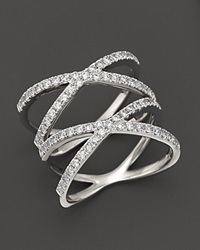 Bloomingdale's Diamond Double Open Cross Ring In 14K White Gold 0.80 Ct. T.W. White Gold White Diamonds