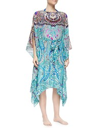 Gottex Cleopatra Printed Tie Waist Coverup Multi Turquoise
