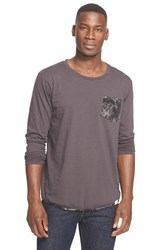 Men's White Mountaineering Owl Camo Print Pocket Long Sleeve T Shirt