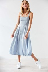 Silence And Noise Striped Square Neck Maxi Dress Blue