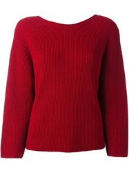 Federica Tosi Cable Knit Jumper Red