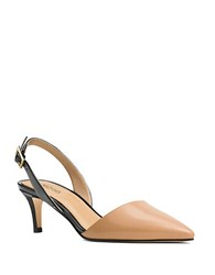 Michael Michael Kors Claudia Leather Slingbacks Black Tan