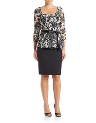 Chetta B Floral Lace Top Black Ivory