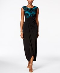 Connected Petite Soutache Faux Wrap Gown Black Teal