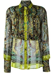 Etro Ruffle Front Semi Sheer Shirt Multicolour
