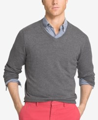 Izod Men's V Neck Sweater Carbon Heather