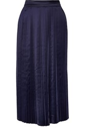 Elizabeth And James Lucy Pleated Satin Midi Skirt Navy
