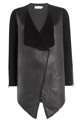 Velvet Faux Leather And Shearling Jacket Black