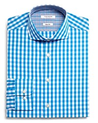 Isaac Mizrahi New York Gingham Slim Fit Dress Shirt Compare At 59.50 Teal
