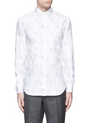 Thom Browne 'Hector' Embroidery Cotton Oxford Shirt White