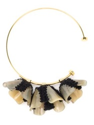 Marni Horn Resin And Wool Knit Flower Collar Necklace Nude Black