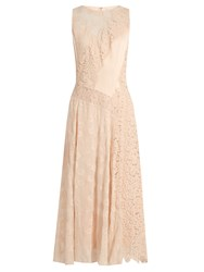 Rebecca Taylor Floral Lace Satin Dress Pink