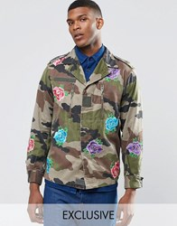 Reclaimed Vintage Military Jacket With Floral Patches Green
