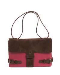 Two Tone Suede Leather Satchel Bag Maroon Chocolate Tomas Maier
