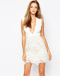 Missguided Plunge Neck Lace Dress White