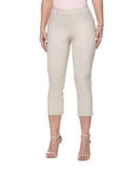 Rafaella Power Stretch Skinny Capri Leggings Stone