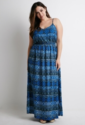 Forever 21 Tribal Print Maxi Dress Blue Black