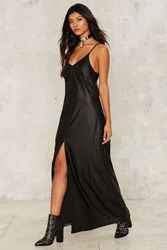 Nasty Gal Collection Clea Vegan Leather Maxi Dress Black