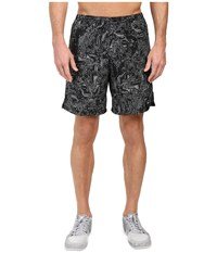 Nike Dry Challenger 7 Printed Running Short Black Black Reflective Silver Men's Shorts