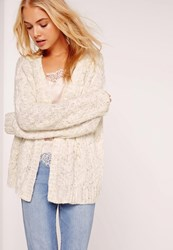 Missguided Cable Cardigan White Ivory