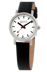 Mondaine ' Evo Lution' Leather Strap Watch 26Mm Black Silver